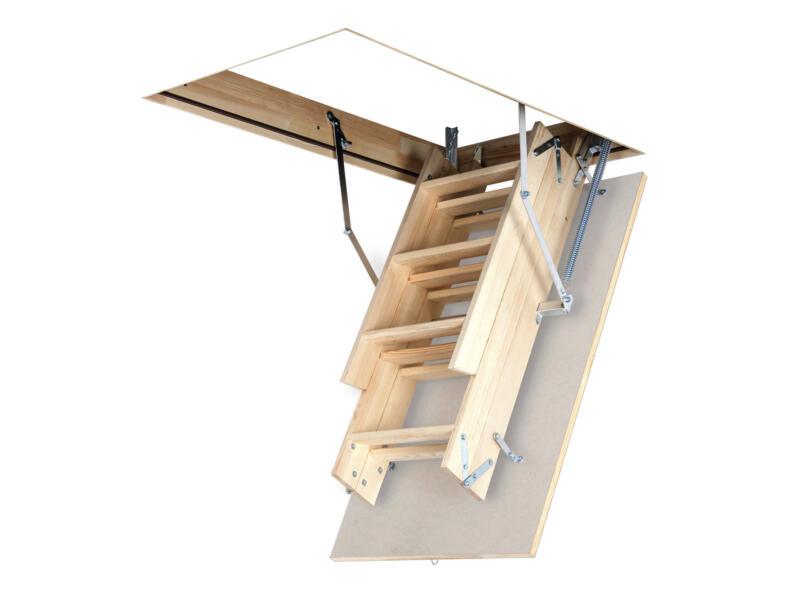 OptiStep escalier escamotable en 3 parties 120x70 cm bois avec trappe blanche