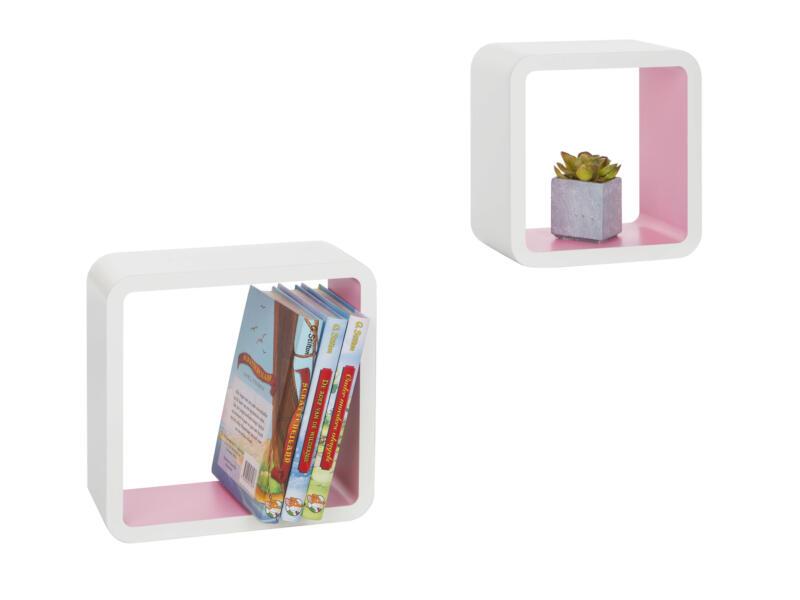 Practo Home étagère murale cube 25cm blanc et rose 2 pièces