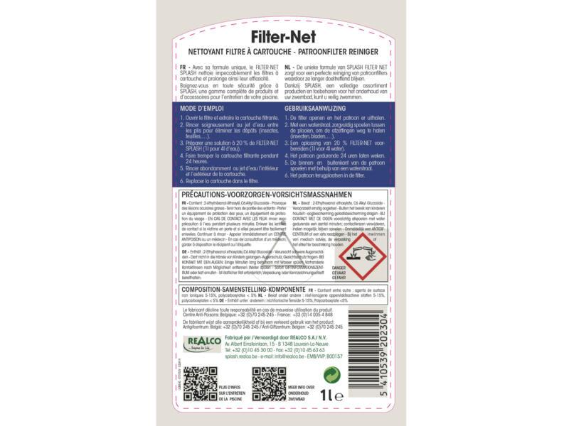 Splash filter-net reiniger voor patroonfilter 1l