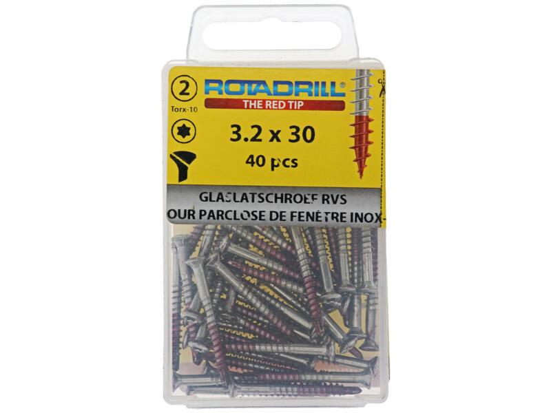 Rotadrill glaslatschroef TX20 3,2x30 mm inox 40 stuks