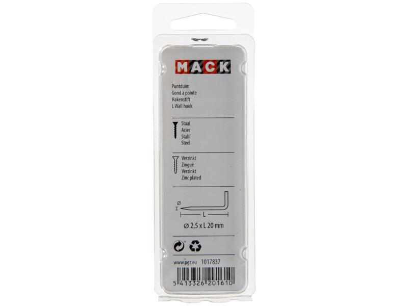 Mack gonds à pointe 2,5x20 mm 22 pièces