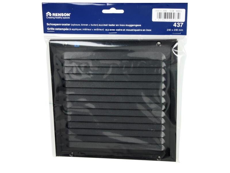 Renson grille estampée avec cadre 200x200 mm aluminium noir