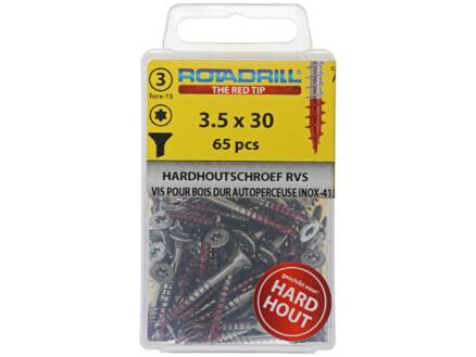 Rotadrill hardhoutschroeven TX15 30x3,5 mm inox 65 stuks