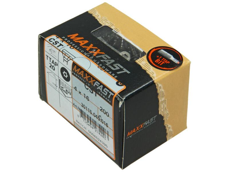 Maxxfast houtschroeven universeel CST 4x16 mm inox 200 stuks