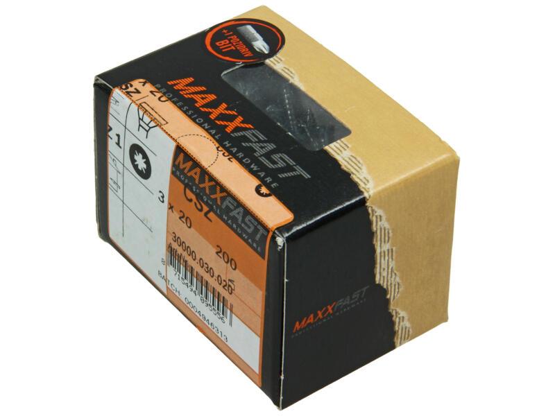 Maxxfast houtschroeven universeel CSZ 3x20 mm verzinkt 200 stuks