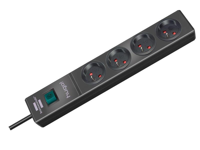 Brennenstuhl hugo! bloc multiprise 4x avec interrupteur et câble 2m anthracite