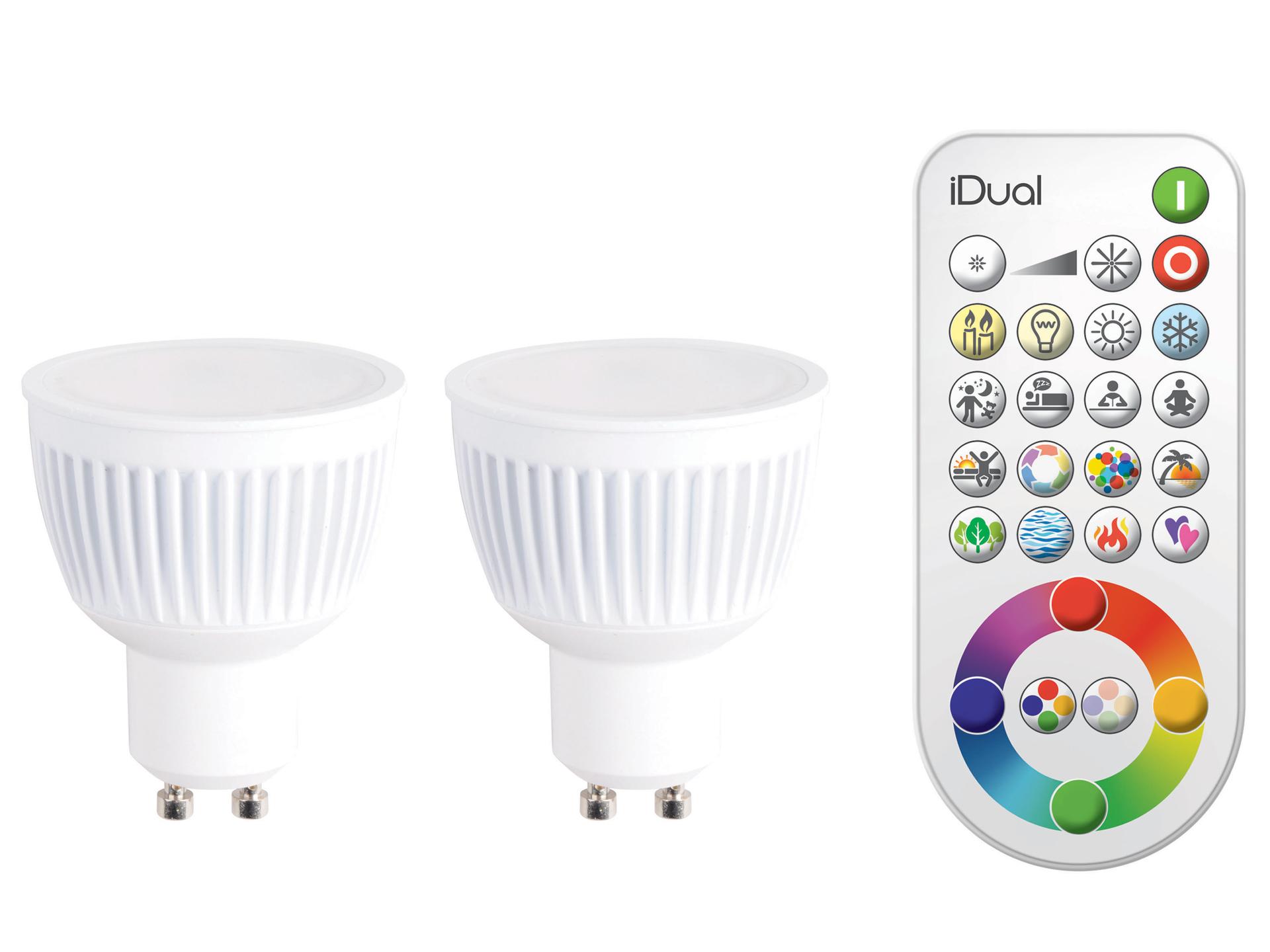 Jedi iDual LED spot GU10 7W 2 stuks + afstandsbediening | Hubo