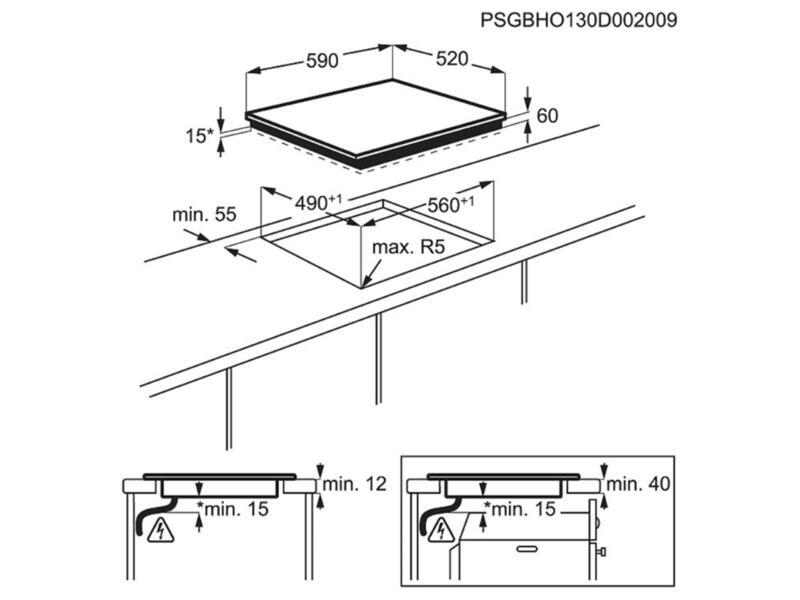 Zanussi inductiekookplaat met tiptoetsbediening 59cm 4 zones