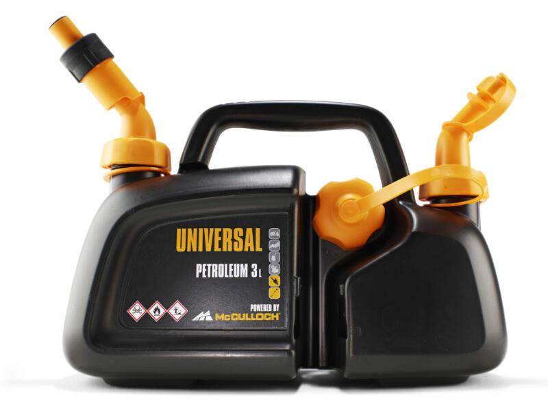 McCulloch jerrycan double 3l d'essence + 1,5l d'huile