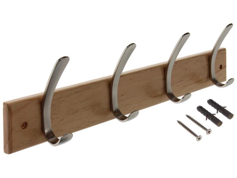 Sam kapstok 4 dubbele haken dennenhout/verchroomd staal
