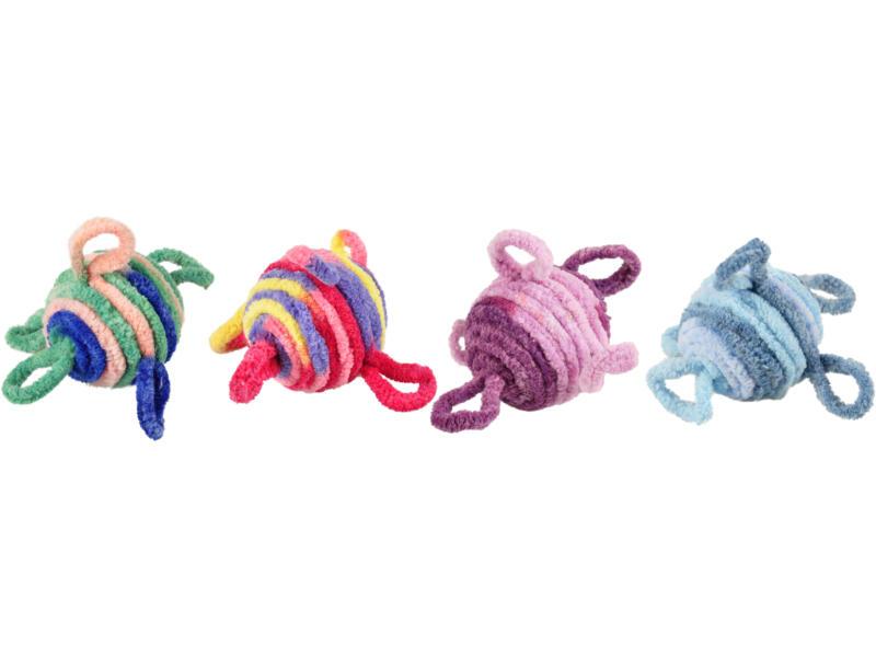 Flamingo kattenspeelgoed balletje wol met geluid 4,5cm 2 stuks beschikbaar in 4 kleuren