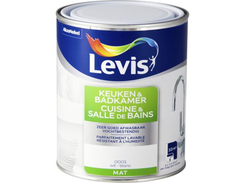 Levis keuken- en badkamerverf mat 1l wit