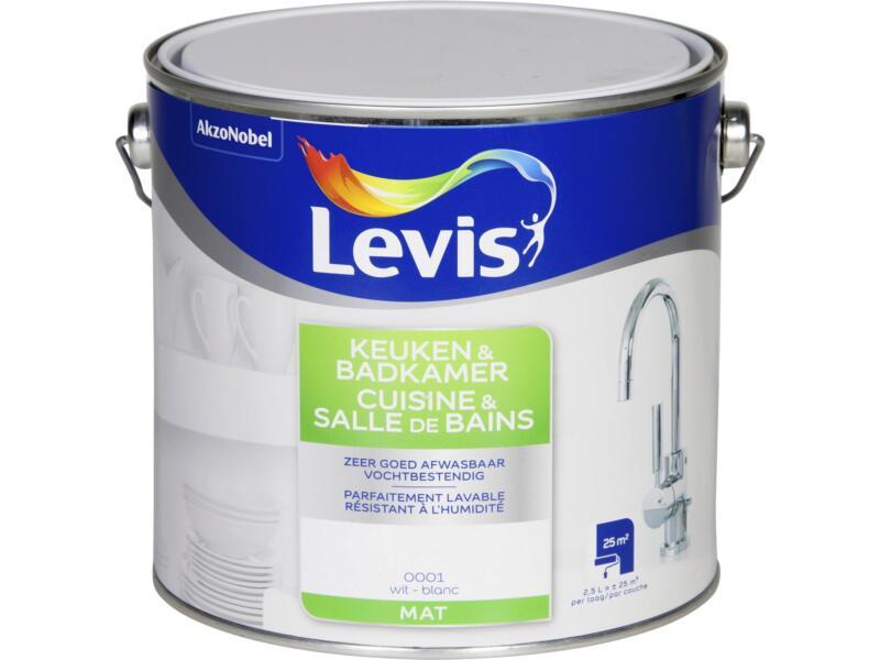 Levis keuken- en badkamerverf mat 2,5l wit