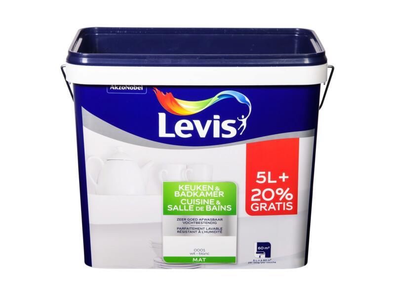 Levis keuken- en badkamerverf mat 6l wit