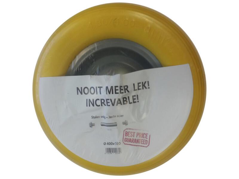 Altrad kruiwagenwiel volle band 400mm metalen velg geel