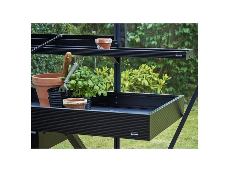 Juliana kweektafel serre met lade 213x52x10 cm zwart