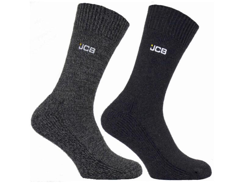 JCB laarssokken 39-43 grijs/donkergrijs 2 paar
