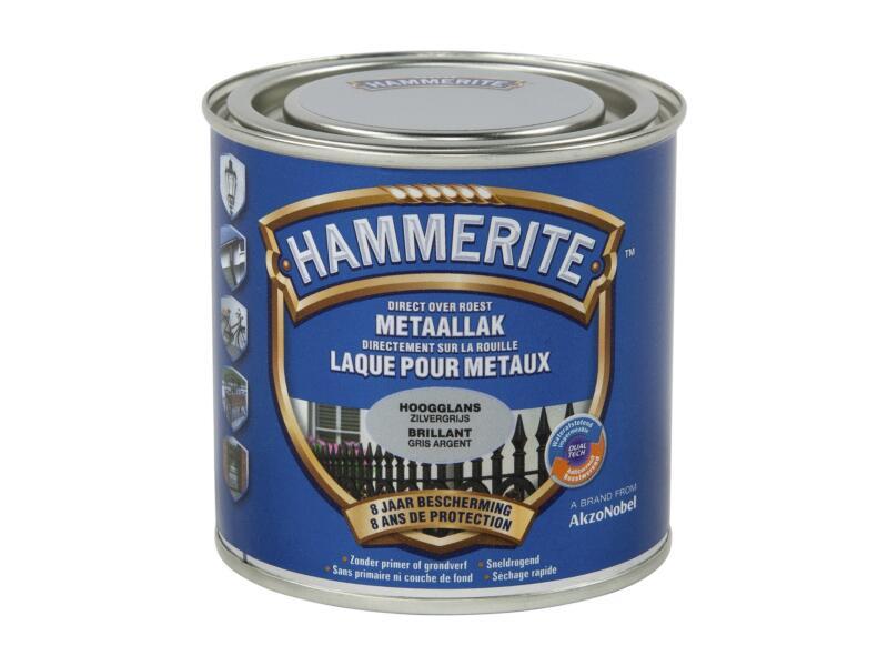 Hammerite lak hoogglans 0,25l zilvergrijs