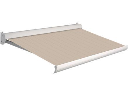 Domasol manuele zonneluifel F10 300x250 cm bruin-wit strepen met crèmewit frame