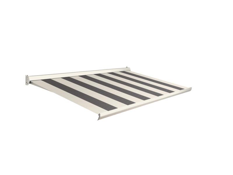 Domasol manuele zonneluifel F10 300x250 cm grijs-crème strepen met crèmewit frame