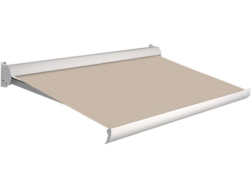 Domasol manuele zonneluifel F10 400x250 cm bruin-wit strepen met crèmewit frame