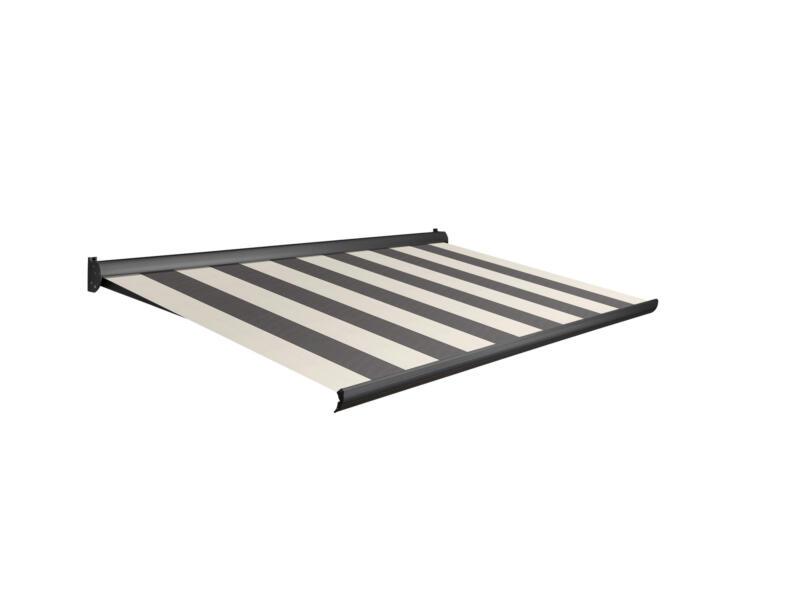 Domasol manuele zonneluifel F10 400x250 cm grijs-crème strepen met antracietgrijs frame