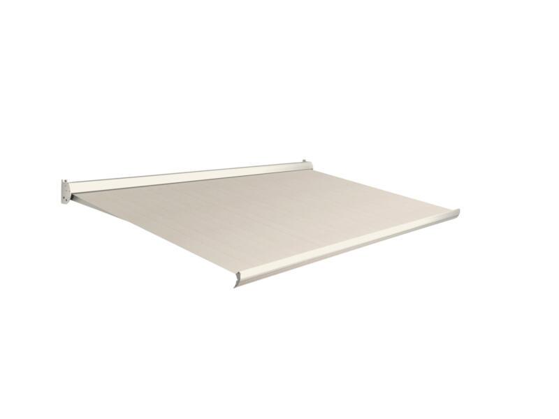 Domasol manuele zonneluifel F10 400x300 cm bruin-wit strepen met crèmewit frame