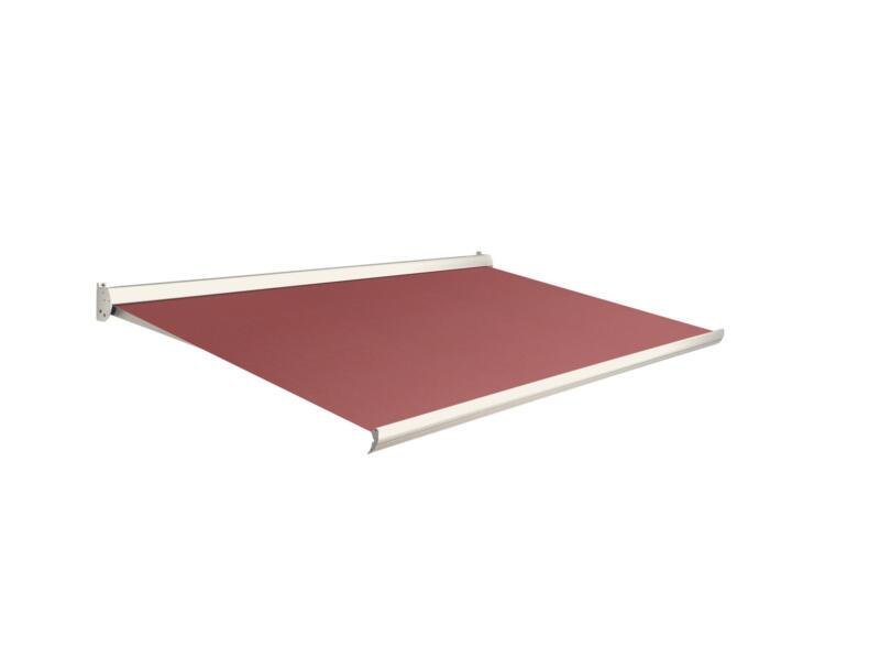 Domasol manuele zonneluifel F10 500x300 cm donkerrood met crèmewit frame