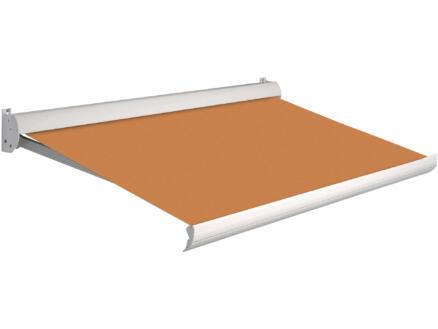 Domasol manuele zonneluifel F10 550x250 cm oranje met crèmewit frame