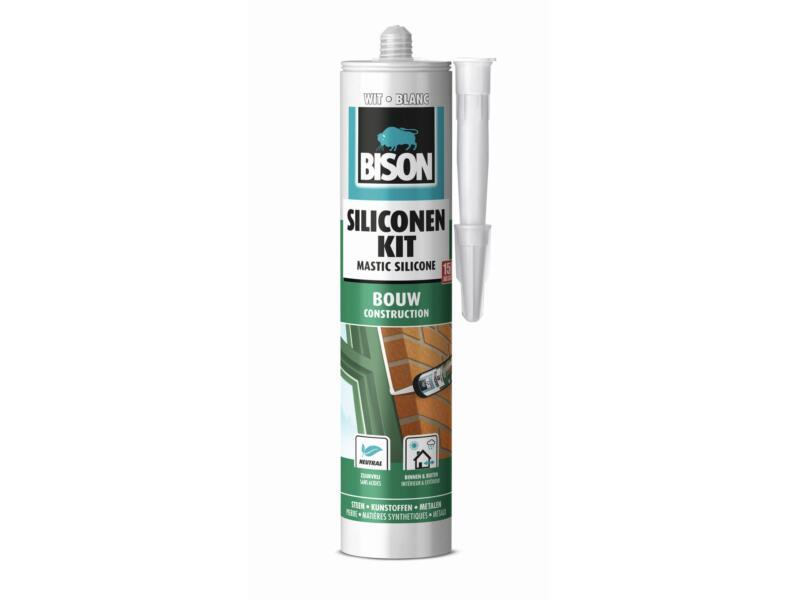 Bison mastic silicone construction 300ml blanc