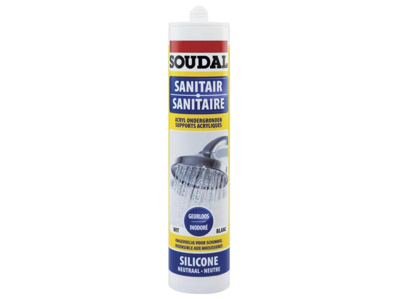 Soudal mastic silicone neutre sanitaire 300ml blanc
