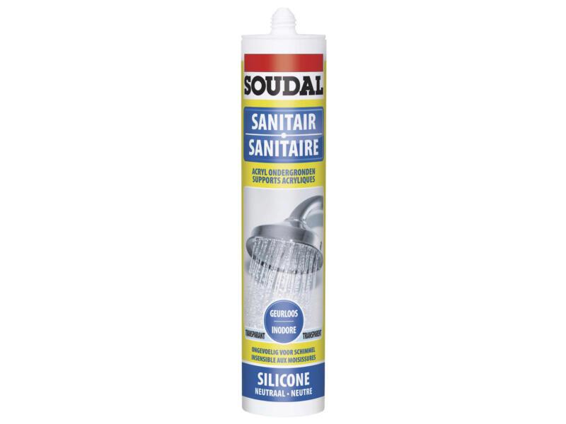 Soudal mastic silicone neutre sanitaire 300ml transparent