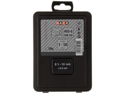 Mack metaalborenset HSS-G 1-10 mm 19-delig