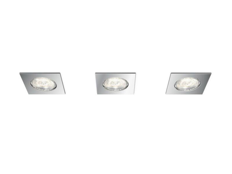 Philips myBathroom Dreaminess LED inbouwspot vierkant 4,5W dimbaar chroom 3 stuks