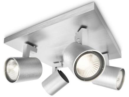 Philips myLiving Runner plafondspot GU10 max. 4x50W dimbaar aluminium