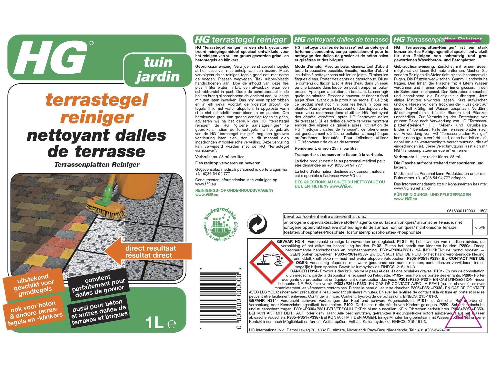 Produit Nettoyage Dalle Terrasse hg nettoyant dalles de terrasse 1l