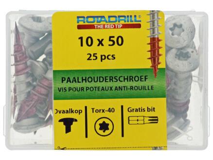 Rotadrill paalhouderschroef TX40 50x10 mm AR-coating 25 stuks