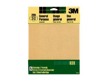 3M papier abrasif G220 286x279 mm 5 pièces