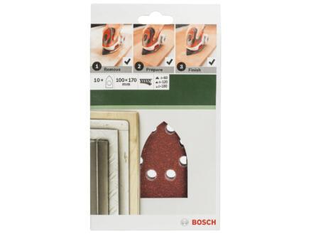 Bosch papier abrasif G60/G120/G180 170x100 mm 10 pièces