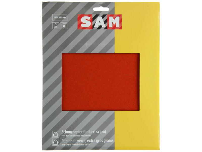 Sam papier abrasif flint G60 sec gros 5 pièces