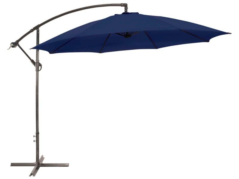 Garden Plus parasol déporté 3m bleu + pied