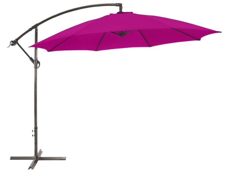 Garden Plus parasol déporté 3m framboise + pied