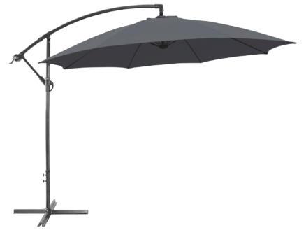 Garden Plus parasol déporté 3m gris + pied