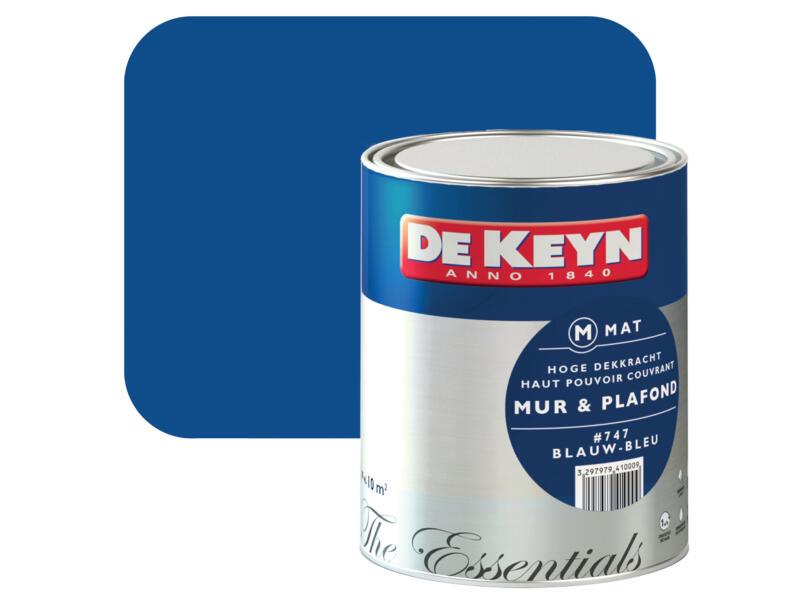 De Keyn Peinture Mur Plafond Satin 1l Bleu 747 Hubo