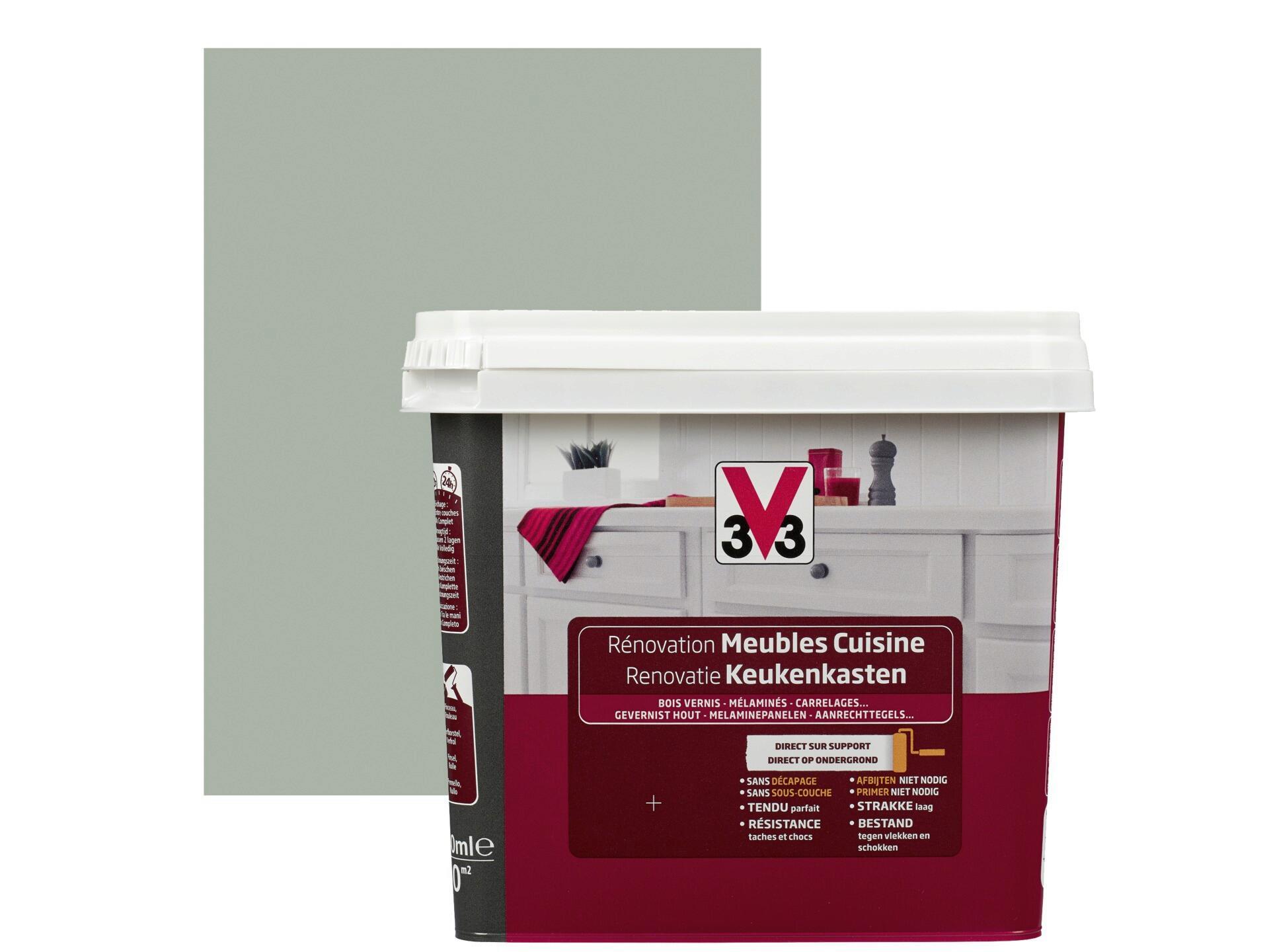 Code Couleur Vert Sauge v33 peinture rénovation meubles de cuisine satin 0,75l vert sauge