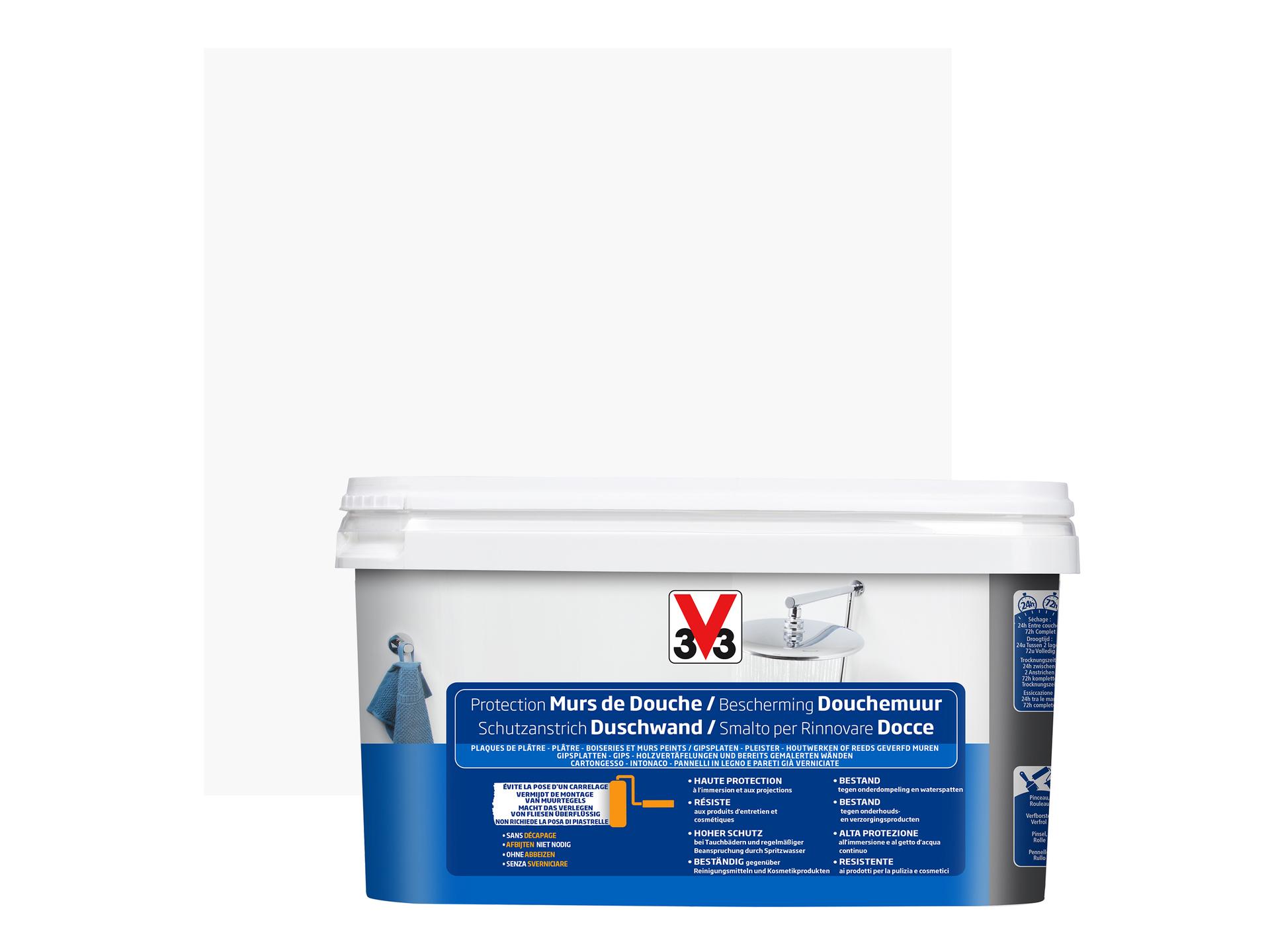 V33 Peinture Rénovation Murs De Douche Satin 2l Blanc