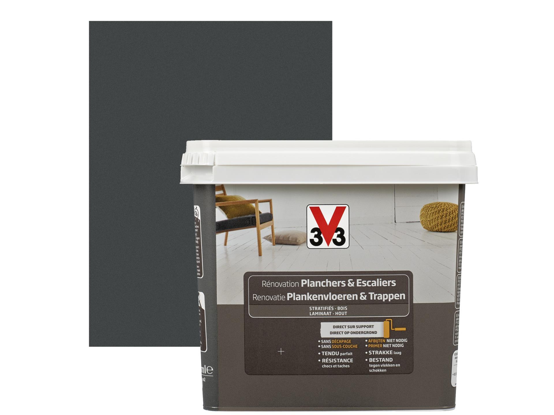 V33 peinture rénovation planchers et escaliers satin 0,75l gris zingué