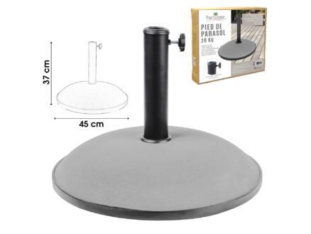 pied de parasol 20kg ciment gris clair