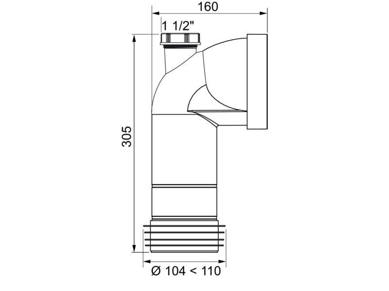 Wirquin pipe d'évacuation WC rigide coudée 110mm avec piquage