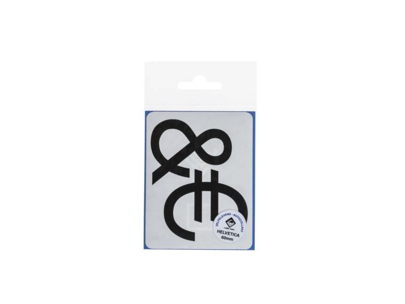 Multisign plakteken €/& helvetica 60mm zwart